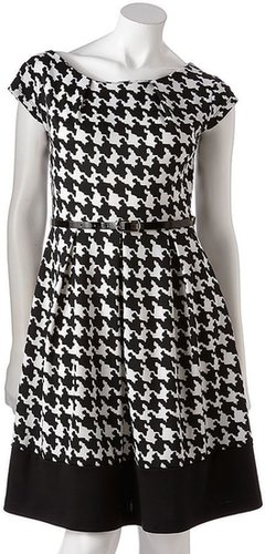 Ab studio houndstooth fit & flare dress