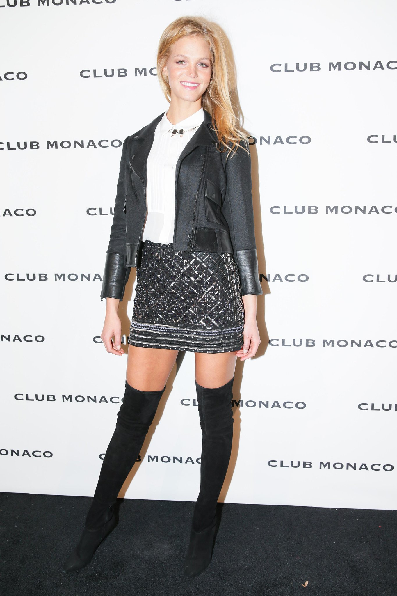Erin Heatherton helped reopen the Fifth Avenue Club Monaco in a sparkling mini.