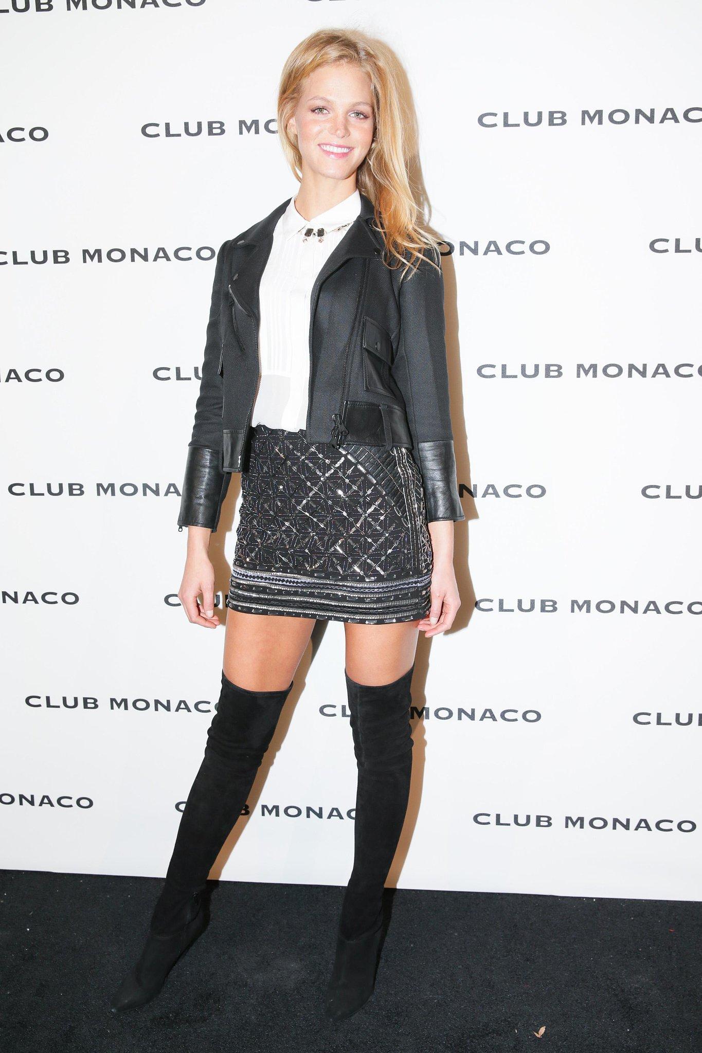 Erin Heatherton helped reopen the Fifth Avenue Club Monaco in a sparkling mini.