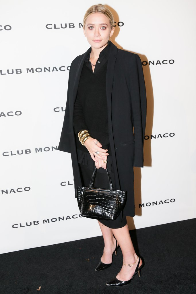 At the Club Monaco flagship opening, Ashley Olsen stuck to a monochromatic palette.