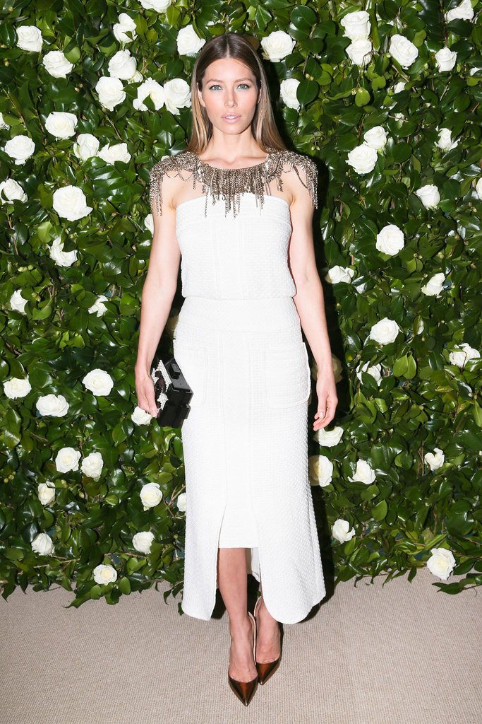 Jessica Biel joined Chanel in the label's dynamic LWD —a design so dramatic that no jewelry was required to complete it!