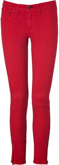 Rag & Bone Red Twill Zipped Ankle Skinny Pants