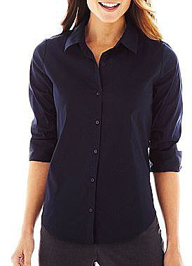 Worthington® Shirred 3/4-Sleeve Button-Front Shirt