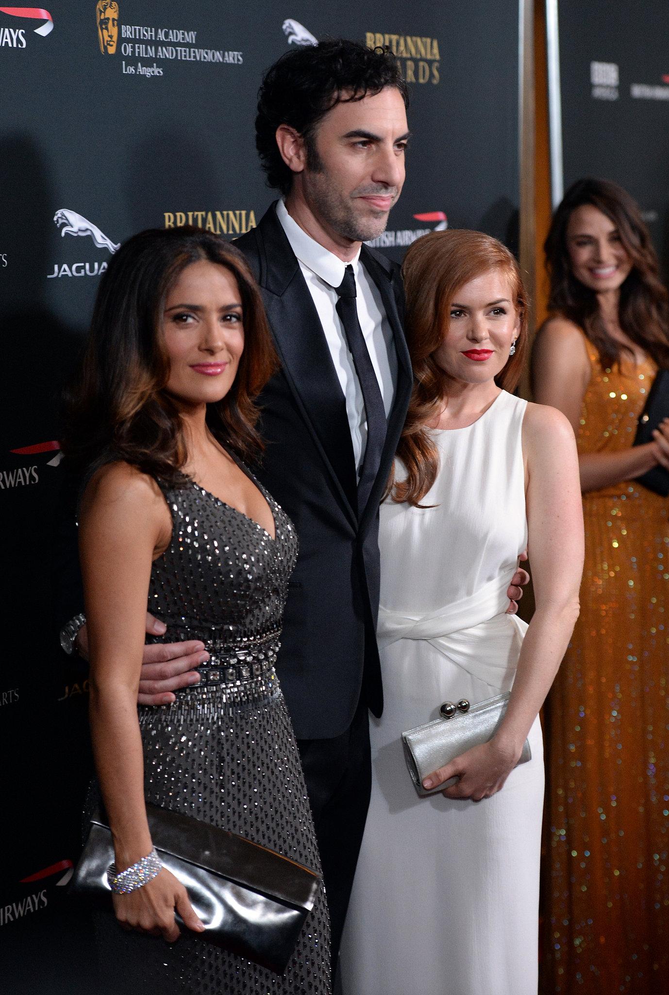 Sacha Baron Cohen posed with Salma Hayek and his wife ...Sacha Baron Cohen Wife