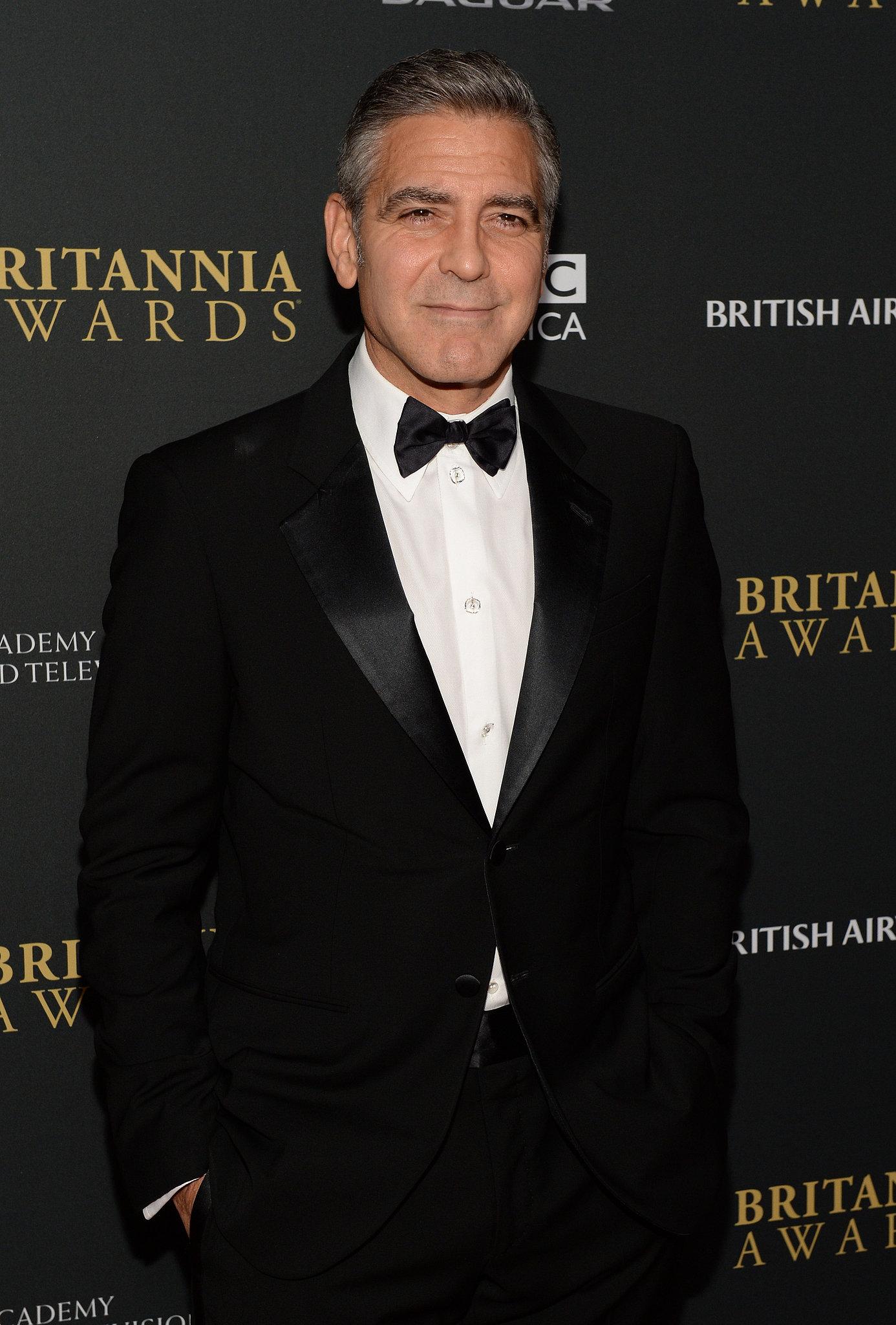 George Clooney suited up in a tuxedo at the BAFTA LA Jaguar Britannia Awards.