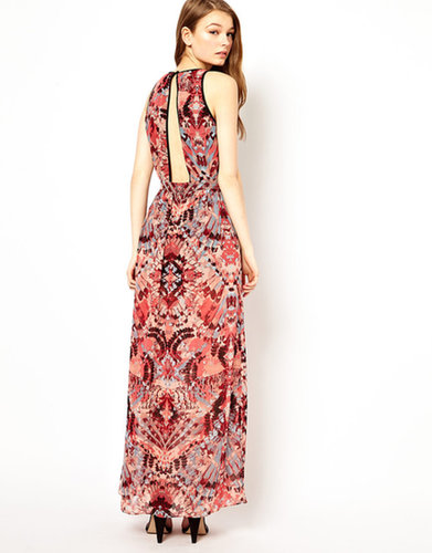 A Wear Print Maxi Dress With Open Back