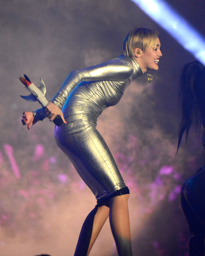 """Miley Cyrus sported a space-age look for her """"We Can't Stop"""" performance."""