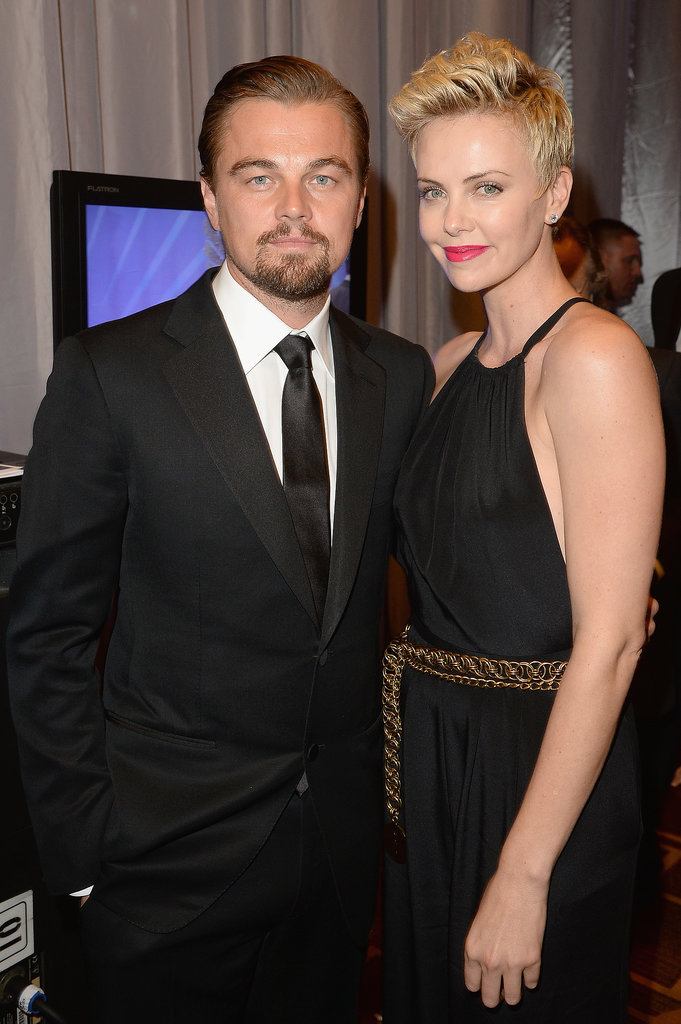 Leonardo posed with Charlize Theron at the 24th annual GLAAD Media Awards.