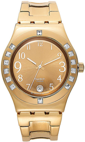 Swatch Watch, Women's Swiss Fancy Me Gold Coated Stainless Steel Bracelet 33mm YLG404G