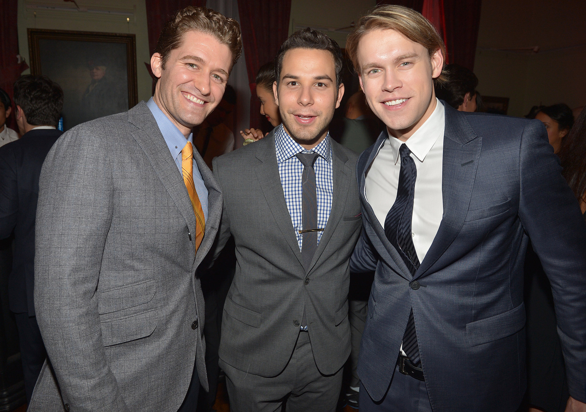 Glee stars Matthew Morrison and Chord Overstreet posed inside the party with Skylar Astin.
