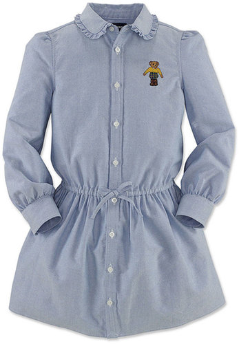 Ralph Lauren Girls Dress, Little Girls Long-Sleeve Oxford Bear Shirtdress