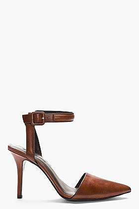 ALEXANDER WANG Tan Leather Leopard Stained Lovisa Ankle Strap Pumps