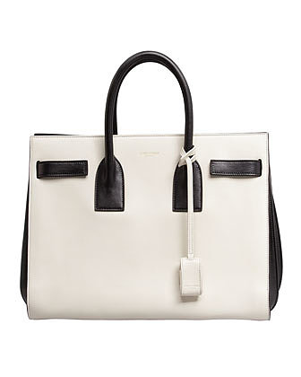 Saint Laurent Sac de Jour Small Carryall Bag, White/Black