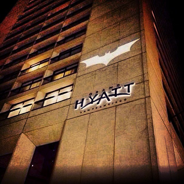 The bat symbol was on display downtown.  Source: Instagram user tresn23