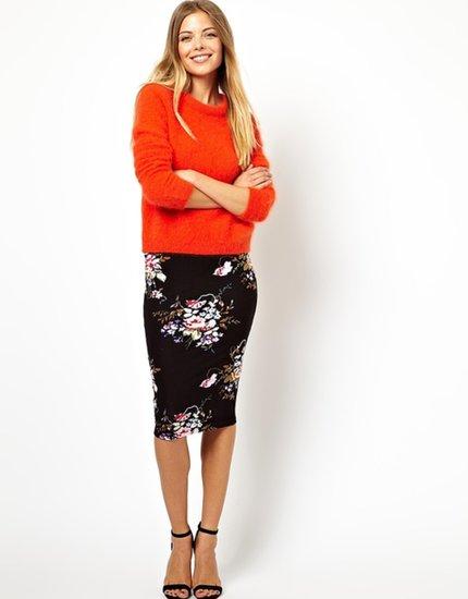 ASOS Pencil Skirt In Oriental Floral Print