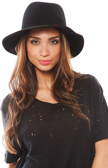 Janessa Leone Isis Hat with Feathers in Black