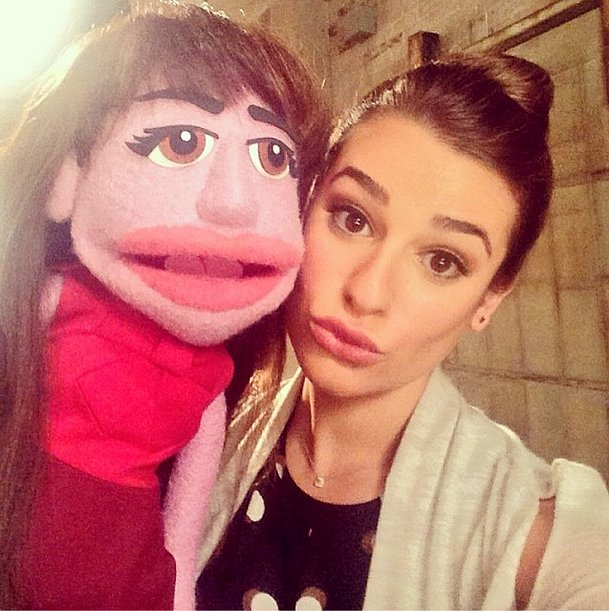 Lea Michele's puppet was just as stylish as she was. Source: Instagram user msleamichele