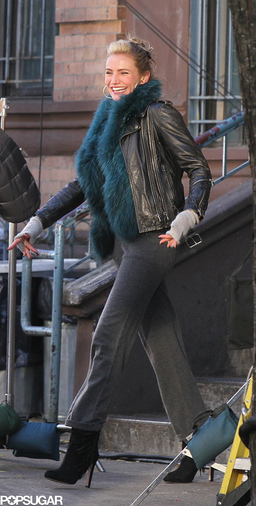 Cameron Diaz filmed scenes for the upcoming Annie remake, in which she plays an edgy Miss Hannigan, in NYC on Wednesday.