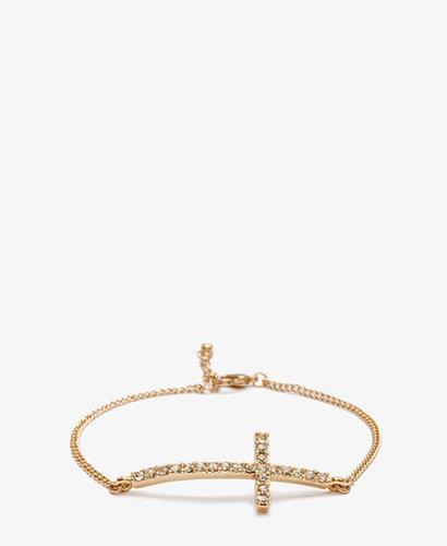 FOREVER 21 Rhinestoned Cross Charm Bracelet