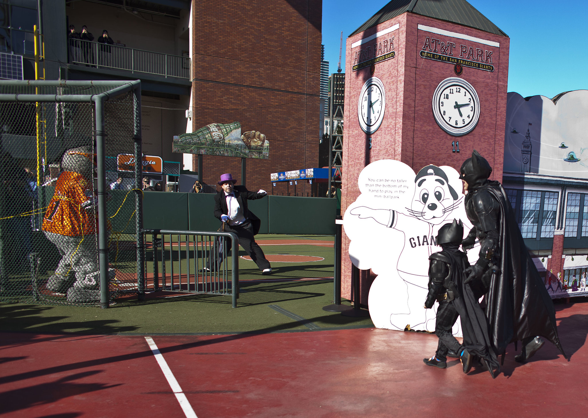 Batman and Batkid arrived at AT&T Park to save San Francisco Giants mascot Lou Seal from the Penguin.