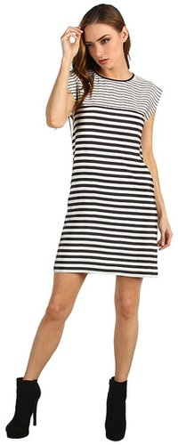 Tibi - Claire Stripe on Silk CDC Easy Dress (Black/Ivory Multi) - Apparel