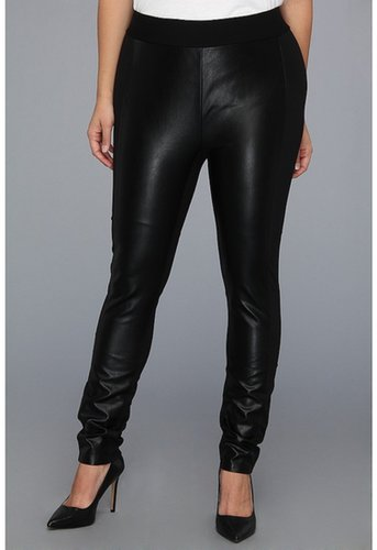 NYDJ Plus Size - Plus Size Mixed Media Faux Leather Ponte Legging (Black) - Apparel