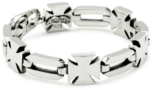 King Baby Men's Baron's Cross Sterling Silver Bracelet