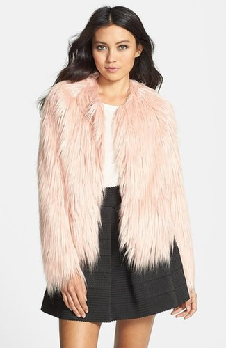Mural Pink Faux Fur Coat