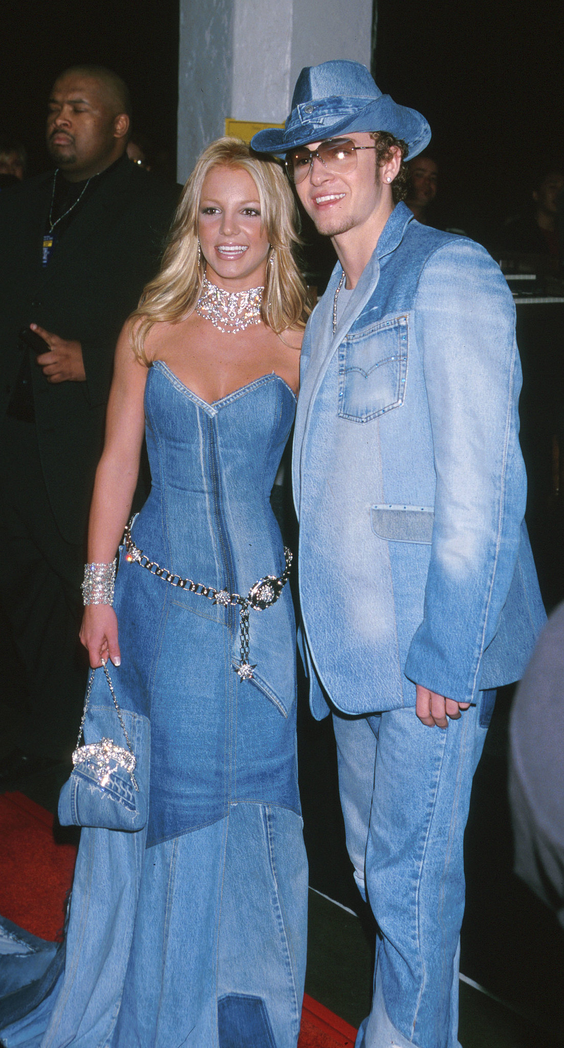 Britney Spears and then-beau Justin Timberlake posed in matching denim ensembles in 2001.