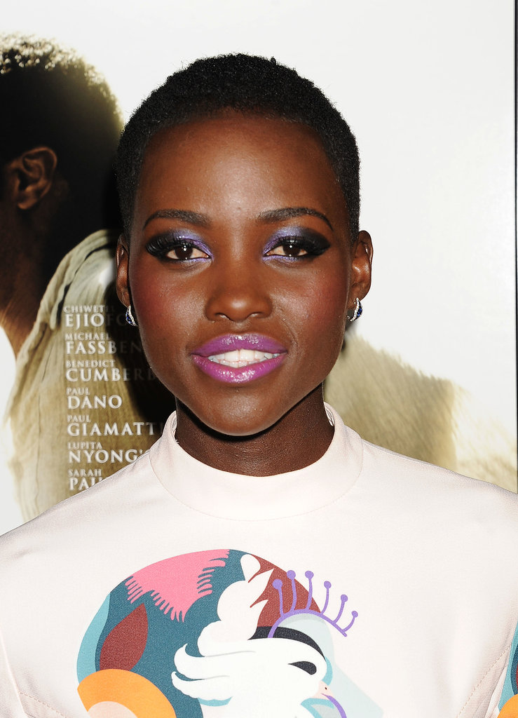 Not many people could pull off purple shadow and pink lipstick together, yet the result is incredibly beautiful on Lupita at the 12 Years a Slave LA premiere.