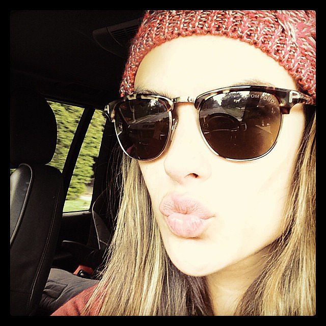 Alessandra Ambrosio blew a kiss to fans — and showed off some sweet Tom Ford shades. Source: Instagram user alessandraambrosio