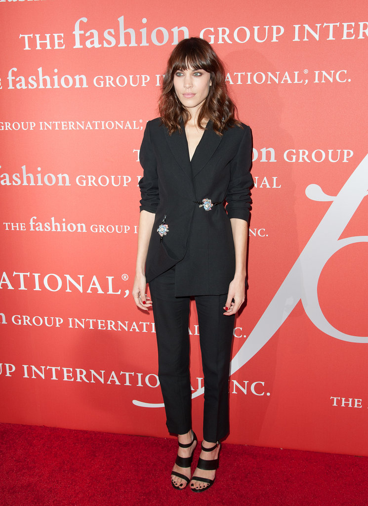 Alexa Chung brought her signature cool-girl twist to the tux, adding strappy sandals and picking a plunging neckline.