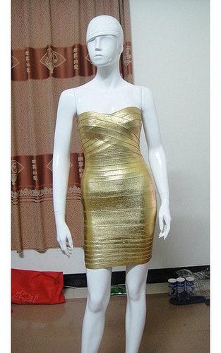 Discount Herve Leger Strapless Gold Bandage Dress Sale