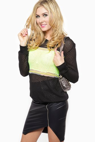 Hint of Neon Pull Over Sweater
