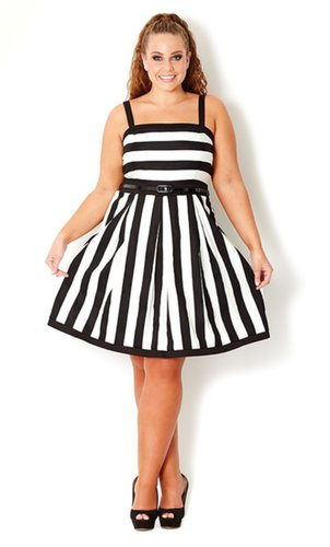 Plus Size Wide Stripe Dress - City Chic - City Chic