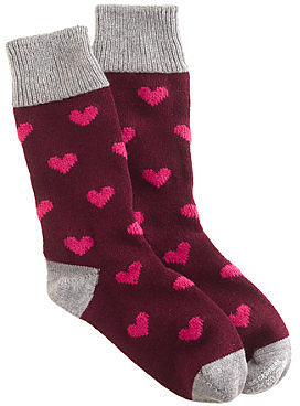 CorgiTM for J.Crew cashmere bordeaux heart socks