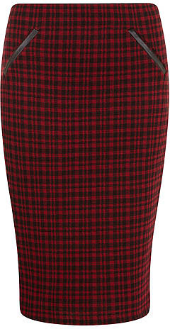 Red/ black check pencil skirt