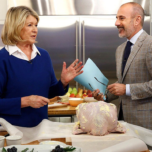 Martha Stewart showed Matt Lauer how to make the perfect turkey on the Today Show. Source: Instagram user todayshow