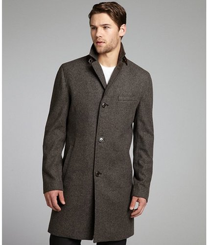 Cole Haan smoke herringbone wool blend elbow patch overcoat