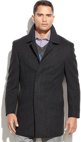 Lauren Ralph Lauren Lauren by Ralph Lauren Coat, Jake Grey Herringbone Wool-Blend Overcoat