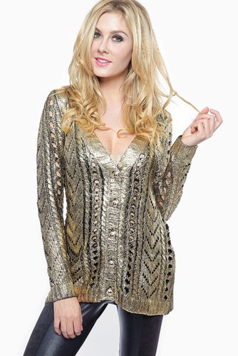 Cozy Gold Foil Knitted Sweater @ Cicihot Clothing,sexy club wear,women's party wear,sexy clothes,evening dress,v neck sweater dr