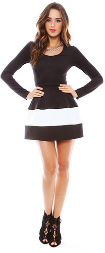 BOULEE Marilyn Long Sleeve Dress in Black/White