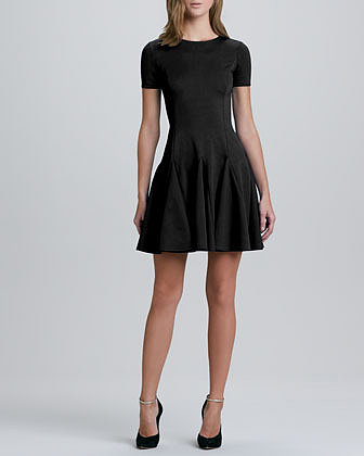 Halston Heritage Flare Skirt Ponte Dress, Black