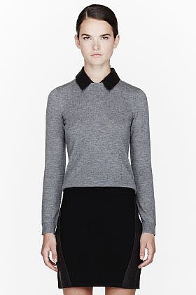 RAG & BONE Heather grey leather-collared Kayla Top