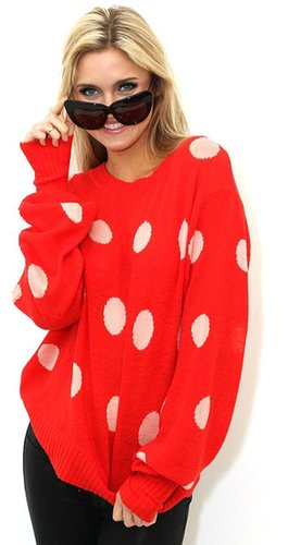 Wildfox White Label WILDFOX WHITE LABEL Polka Dot It Holiday Sweater in Holiday