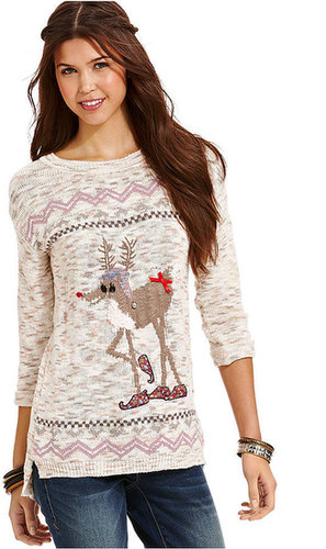 American Rag Long Sleeve Graphic High-Low Sweater