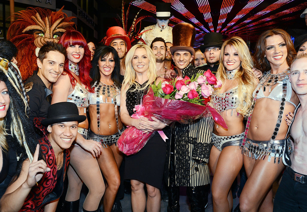 Britney Spears celebrated her official arrival at Planet Hollywood Resort & Casino in Las Vegas with a massive group of fans and a bouquet of flowers.