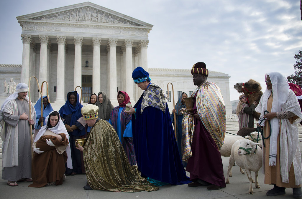 A live nativity made its way to Capitol Hill in Washington DC.