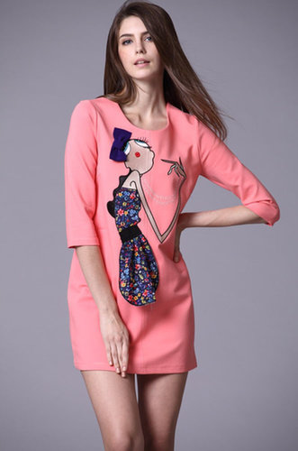 Pink Half Sleeve Girl Embroidered Bow Dress - STDRESSES