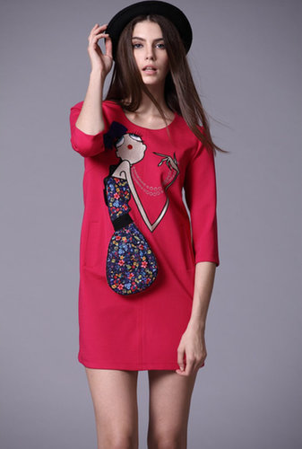 Red Half Sleeve Girl Embroidered Bow Dress - STDRESSES